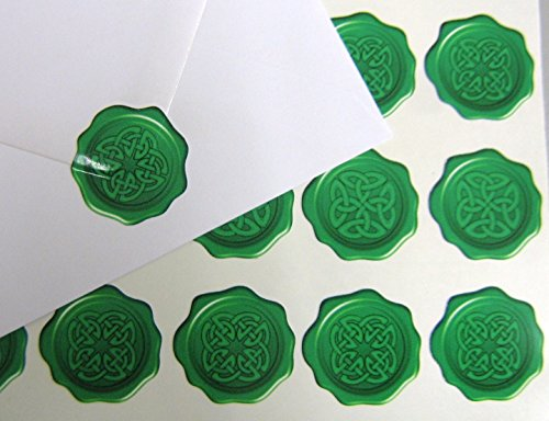 60 Celtic Knot Wax Seal Effect Flat Vinyl Sticker. A Stylish Seal for Envelopes and Gift Labels 27 mm