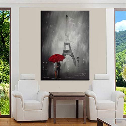 Danjiao Moderne Abstrakte Figur Leinwand Malerei Hand Malen Menschen Mit Regenschirm Poster Wandkunst Bilder Für Wohnzimmer Home Decoration Wohnzimmer 60x90cm