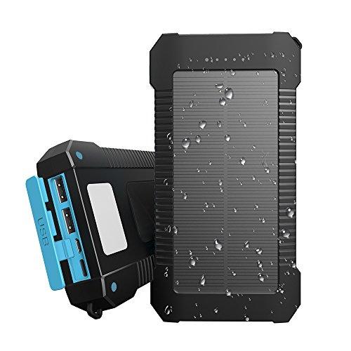 Solar Ladegerät, Innoo Tech 20000mAh Powerbank Solar Externer Akku mit LED Taschenlampe und Mini-USB-Ventilator, mit 3 Ausgänge und Type-C & Micro Dual Dual-Input-Port, wasserdicht nach IP65