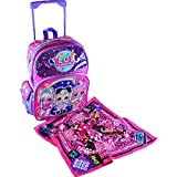 LOL 16 Inch Large School Rolling Backpack with Goodies Bundle   LOL Pink & Purple Sequin   LOL Backpacks for Girls   LOL Remix