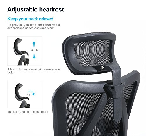 Sihoo Ergonomic Office Chair, Computer Chair Desk Chair High Back Chair Breathable, Skin-Friendly Mesh Chair Adjustable 3D Armrest and Lumbar Support (Black)