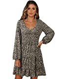 SOLERSUN Babydoll Dresses for Women, Women's Casual Leopard Tunic Dress Long Sleeve V Neck Loose Calssical Swing Babydoll Dresses Light Leopard M