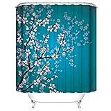 LLLTONG Duschvorhang wasserdicht Mehltau Bad Vorhang Wasser Bad Vorhang Polyester Faser Stoff Pflaume blau Hintergr&