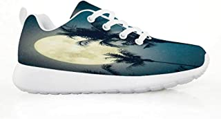TecBillion Space Comfortable Running Shoes,Alien and Human Astronaut Space with Shooting Stars Moon and Earth Cute Image for Kids Boys,EU29