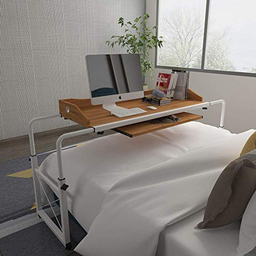 Huisenus Mobile Height Adjustable Overbed Table Laptop Table Cart with Wheel Computer Desk Rolling Table for Medical Hospital Home Use Workstation Utility Desk Wood 1.2M