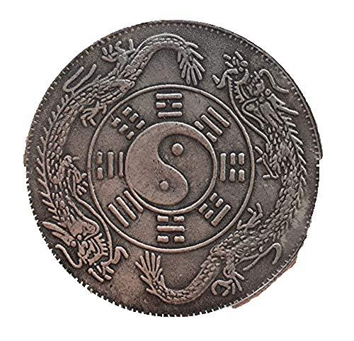 Fashion158 Aufwendige alte chinesische tibetische Silbermünze zhongwaitongbao Bagua Gedenkmünze
