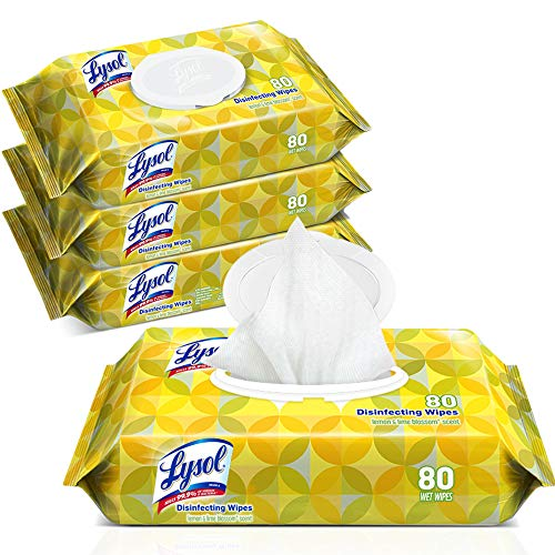 Lysol Handi-Pack Disinfecting Wipes, Lemon and Lime Blossom, Cleaning Wipes, Antibacterial Wipes, Sanitizing Wipes, Cleaning Supplies 80 Count (Pack of 4)