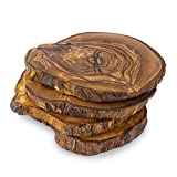 Forest Decor Wood Coasters Round, Set of 4, Perfect Wooden Coasters for Table or Cabin Decor, Rustic Home Decoration, Made of Olive Wood