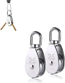 2 piezas de polea de polea de elevación, el juego de poleas M25 está hecho de acero inoxidable 304 puede girar 360 grados, se utiliza para la cuerda, el diámetro de 25 mm puede levantar 150 kg