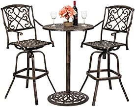 Best Choice Products 3-Piece Outdoor Cast Aluminum Bar Height Patio Bistro Set w/ 2 360-Swivel Chairs - Antique Copper