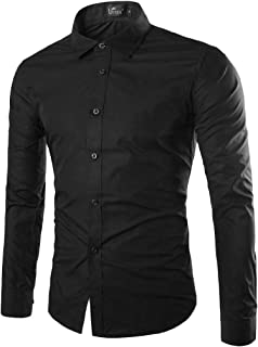 Andopa Mens Cowboy Vogue Casual Leisure Fit Long Sleeve Woven Shirt