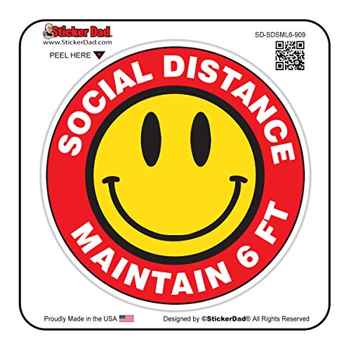 Social Distance Smile 6 FT - 909 (2 pack)- Full Color Printed - (size: 2' Round, color: Red/Black/Yellow) - Hard Hat, Helmet, Windows, Walls, Bumpers, Laptop, Lockers, etc.