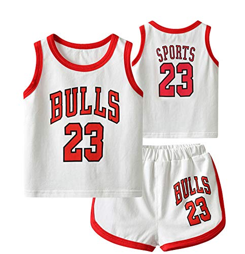 YANGLIXIA Kinder Basketballtrikot #23 Jordan Bulls Säuglinge und Junge, Anzug Sommer Weste Kits Mode Atmungsaktiv Training Shorts Sets Baby Junge und Mädchen Weiß - 80 cm