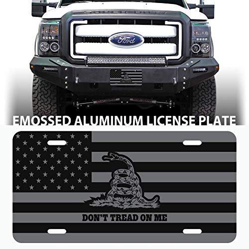 Beabes Snake Gadsden Flag Dont Tread On Me Front License Plate Cover,Decorative License Plates for Car,Aluminum Novelty Auto Car Tag Vanity Plates Gift for Men Women 6x12 Inch
