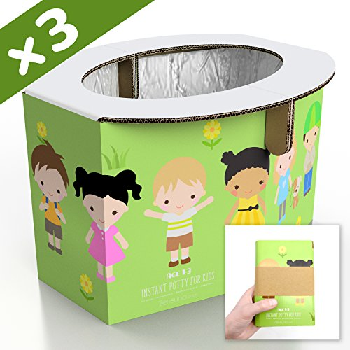 Zensuno Emergency Foldable Portable Disposable Hygienic Instant Potty for Kids Toddlers Small Children and Babies, Great for Road Trip, Camping, Traveling, Hiking and Car Essential (3 Pack, Age 1-3)