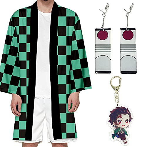 Aramomo Set de Disfraz Anime Cosplay Tanjirou Zenitsu Tomioka Nezuko Juego de Disfraz Manga Kimono Japonés Albornoz Para Hombre Mujer Adolescentes con Pendientes Llavero (Tanjilou, XXL)