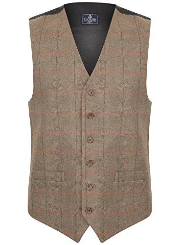 Herren Weste Braun Tweed Kariert Fischgräte Design (Größe XL)