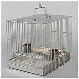 jaula Jaula de aves de acero inoxidable Jaula de baño de loro con taza de alimentos y palitos Puede ser portátil adecuado para pájaros pequeños y medianos Cockatoo Cockatoo Cockatoo Cockair jaula para