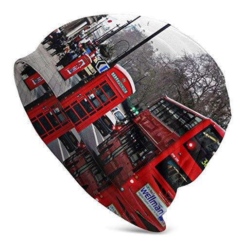 BGDFN Vintage London Red Bus con Cabina de teléfono Gorro de Punto Gorro cálido Gorros elásticos Suaves con puños de Calavera Gorro Diario para Unisex
