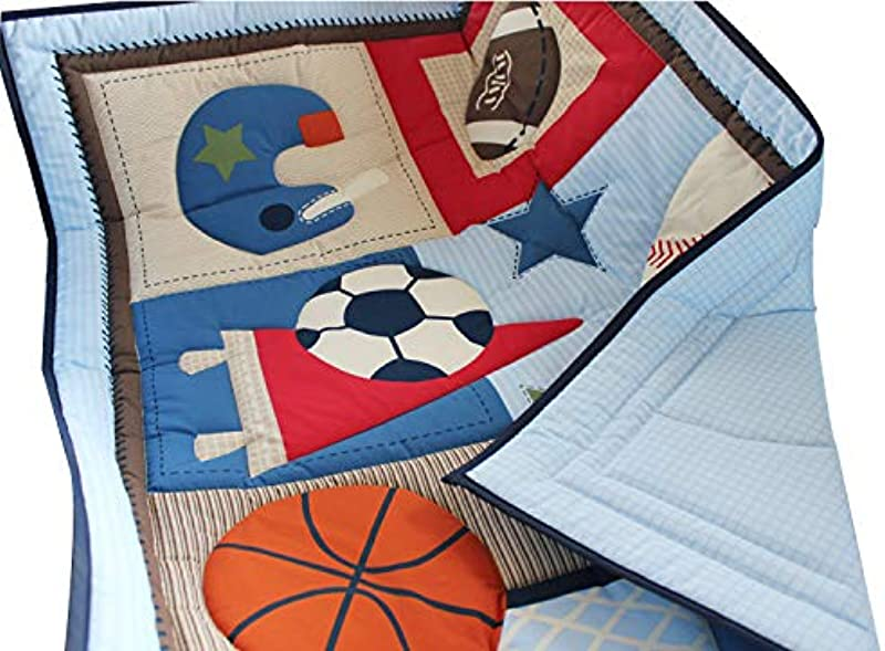 WINLIFE Crib Bedding Set For Girls Boys Crib Quilts 33 X42 Baby Quit Sports
