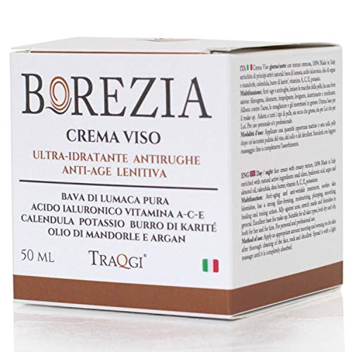 Crema Viso Antirughe Idratante Bava di Lumaca Pura BIO - OMAGGIO Contorno Occhi 5 ml - Acido Ialuronico, Antiage Macchie Donna e Uomo, Cicatrici Acne Collo e Decollete, 100% Made In Italy