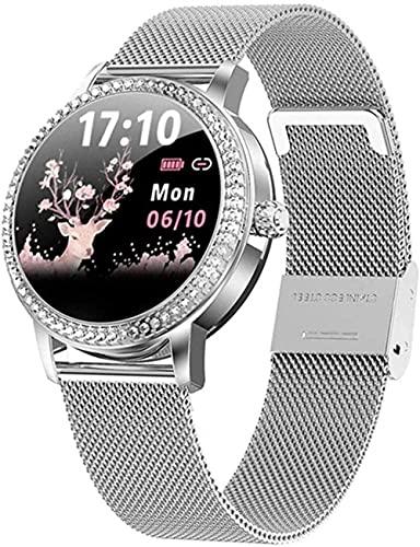 Reloj inteligente para mujer Fitness Tracker Bluetooth podómetro reloj deportivo mujeres acero IP68 pulsera impermeable ritmo cardíaco regalo para amante plata