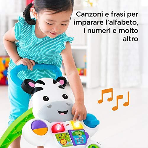 Fisher Price DLD91Zebra Primi Passi Spingibile, Giocattolo con musica e suoni, per Bambini di 6 + Mesi, Multicolore