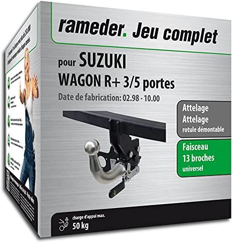 Rameder Pack, attelage rotule démontable + Faisceau 13 Broches Compatible avec Suzuki Wagon R+ 3/5 Portes (162667-03403-1-FR)