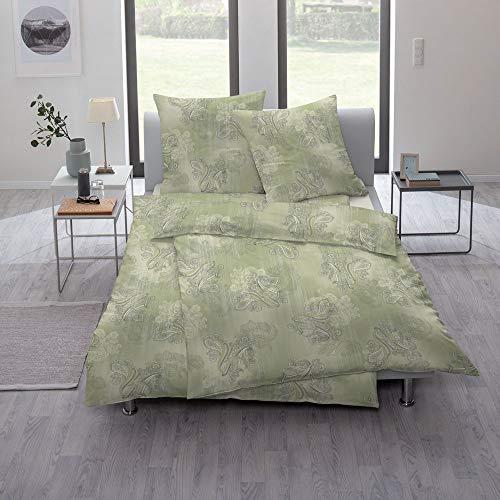 ESTELLA Bettwäsche Verde | 135x200 + 80x80 cm | bügelfreie Interlock-Jersey-Qualität | pflegeleicht und trocknerfest | ideale Vier-Jahreszeiten-Bettwäsche | 100% Baumwolle