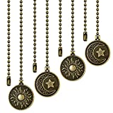 Ceiling Fan Pull Chains - 4 Pieces Copper Extension Fan, Lighting, Lamp Pull Chain Decorative Extender Ornament 12 Inch in Length, with Decorative Totem Beaded Ball Fan Chain Connector, Moon and Sun