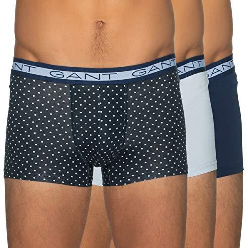 GANT Herren 3-Pack Basic Trunk Polka DOT Boxershorts, Persian Blue, XL