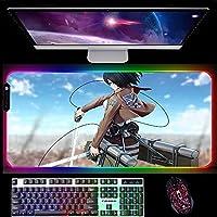 ゲーミングマウスパッド進撃の巨人ゲーミングマウスパッド特大ゴム滑り止めマウスマットキーボードPC用コンピューターRGB光る900x400x4mm