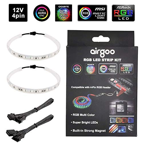 PC RGB LED Strip Light, 2pcs Magnetic LED Strip for 12V 4-Pin RGB LED headers, Compatible with ASUS Aura RGB, MSI Mystic Light, ASROCK Aura RGB Motherboard and RGB Controller, White Silicone Housing