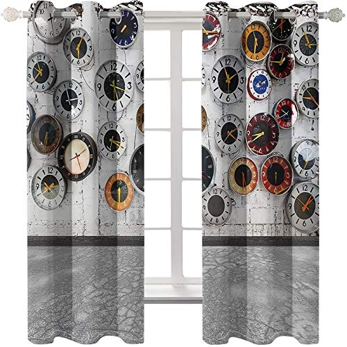 AmDxD Cortinas opacas de poliéster de 2 paneles, cortinas modernas para dormitorio, reloj de pared, cortinas de ventana, cortinas lavables a máquina, gris blanco, 201 cm de ancho x 250 cm de largo