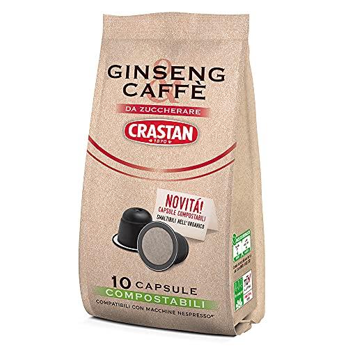 Crastan Capsule Compostabili Compatibili Nespresso - Ginseng & Caffè da Zuccherare - 10 Confezioni Da 10 Capsule [100 Capsule]