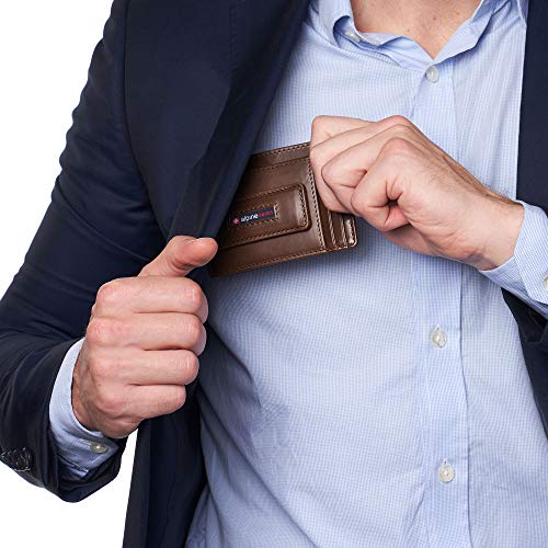 Alpine Swiss Harper Mens RFID Slim Front Pocket Wallet Magnetic Money Clip ID Card Holder Leather Brown