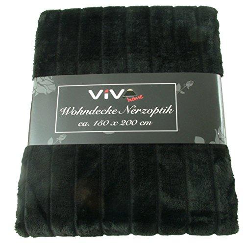 Viva Decken 150x200cm Wohndecken Kuscheldecke Tagesdecken Nerzoptik leicht, Farbe:schwarz