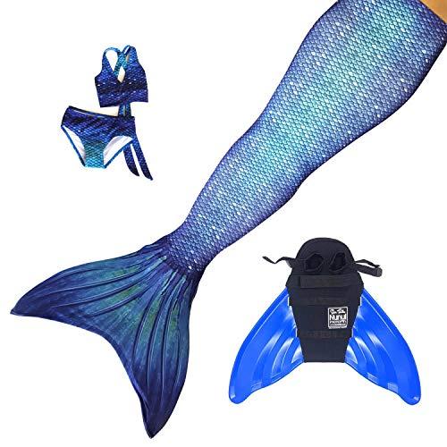 Sun Tails Set de aleta de sirena de alta calidad Ocean Deep Mermaid Sirena Natacin Diversin Deporte Snorkel cola Monofaleta Princesa JL con monoaleta azul y disfraz y bikini