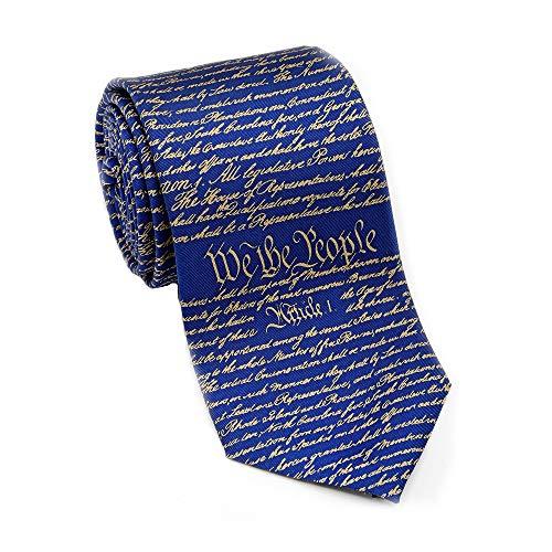 Josh Bach Men's Constitution of United States Silk Necktie Blue Gold, Made in USA
