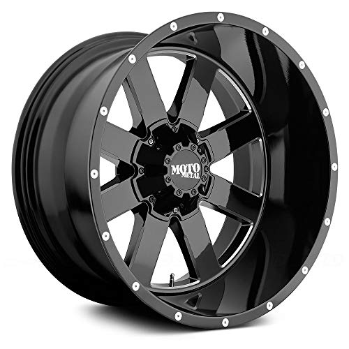 MOTO METAL MO962 Gloss Black Milled Wheel with Painted and Chromium (hexavalent compounds) (20 x 10. inches /6 x 87 mm, -24 mm Offset)
