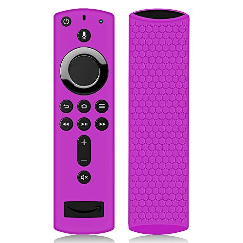 Remote Case/Cover for Fire TV Stick 4K, Protective Silicone Holder Lightweight [Anti Slip] ShockProof for Fire TV Cube/Fire TV(3rd Gen)Compatible with All-New 2nd Gen Alexa Voice Remote Control-Purple