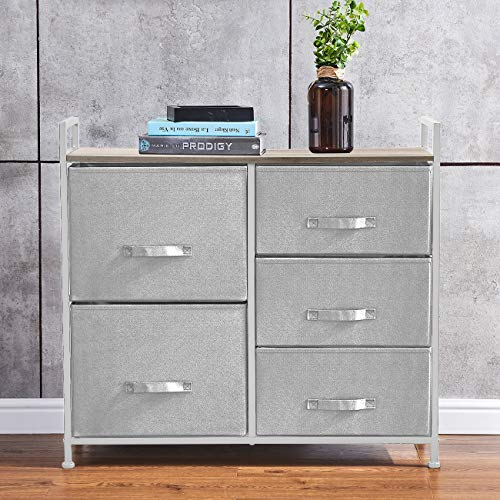 Huisen Furniture Bedroom Chest of Drawers for Clothes Living Room Unit Storage Cabinet with 5 Drawers for Hallway Kid Room Organizer Cabinet with Metal Frame Grey Non-Woven Fabric Drawers