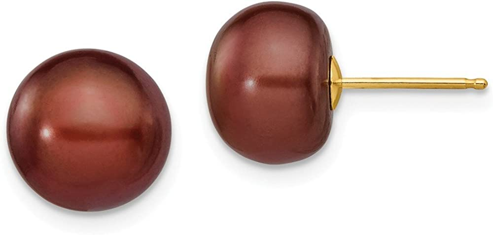 Solid 14k Yellow Gold 9-10mm Coffee Button FW Cultured Pearl Stud Earrings