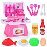 TOYMYTOY Kinderküche Spielzeug mit Kochgeschirr Kochplatten Rollenspiele Zubehör