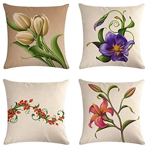 JOVEGSRVA Fundas de almohada decorativas de 45 cm x 45 cm, fundas de almohada para sala de estar, sofá cama, juego de 4 unidades