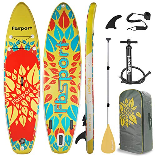 FBSPORT 10'/10.6' Premium Inflatable Stand Up Paddle Board, Yoga Baord with Durable SUP Accessories & Carry Bag | Wide Stance, Surf Control, Non-Slip Deck, Leash, Paddle and Pump for Youth & Adult