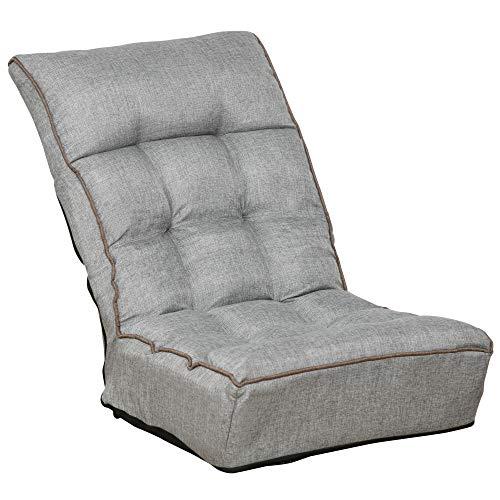 HOMCOM Bodenstuhl Bodensessel Sitzkissen Rückenlehne verstellbar für Wohnzimmer Büro modern Grau 60 x 90 x 73 cm
