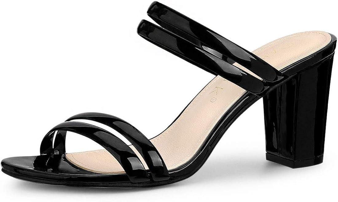 Allegra K Women's Clear Strappy Heel Slide Mule Block Heel Sandal