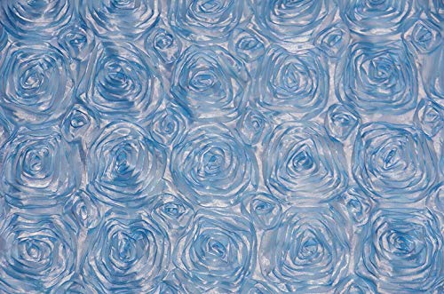 AK Trading 54-Inch Wide Premium Satin Rosette 3D Rose Design Ribbon Fabric (Baby Blue, 1 Yard)