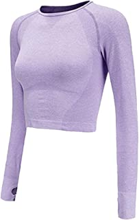 Women Seamless Long Sleeve Yoga Shirts Crop Top Thumb Hole Sportswear Fitted Gym Running Outfits